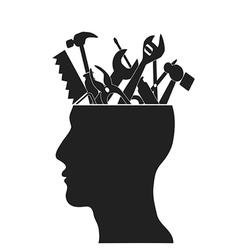 Hand tools in head vector image vector image