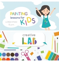 Painting lessons kids creativity lab vector