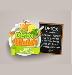 recipe detox cocktail-tealemongingerhoneymint vector image vector image