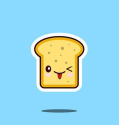toast kawaii cute design flat cartoon icon vector image