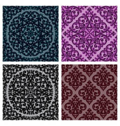 vintage seamless patterns set vector image vector image