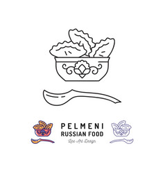 dumpling icon pelmeni russian food symbol thin vector image