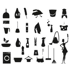Laundry and Washing black icons set vector image