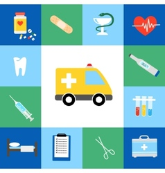 Set of medical flat icons vector image vector image
