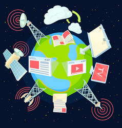 Advertising global concept cartoon style vector