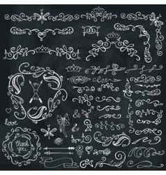 Doodles borderbrushesdecorFloral sketched vector image
