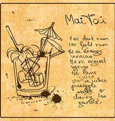 Hand drawn Mai Tai cocktail vector image vector image