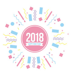 happy new year 2018 poster greeting banner pastel vector image