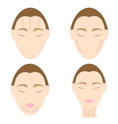 Woman easy massage anti face wrinkle 2 vector image