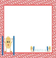 Workout Eggs Cartoon in Red Picture Frame vector image vector image