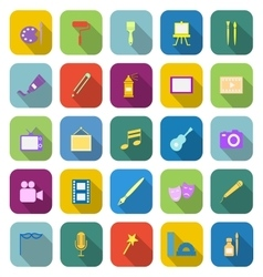 Art color icons with long shadow vector image vector image