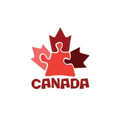Canadian maple leaf on puzzle pieces vector image