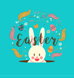 happy easter typography bunny egg spring vector image vector image