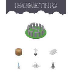 isometric architecture set of england india vector image vector image