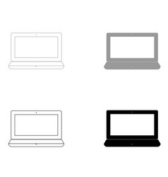 laptop the black and grey color set icon vector image vector image