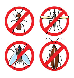 no insects flat icons set insecticide symbols vector image vector image