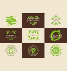 organic 100 percent product logo template set vector image