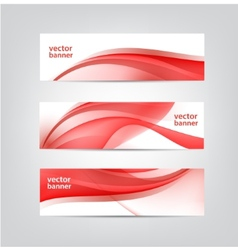 set of wavy red banners vector image vector image