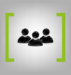 team work sign black scribble icon in vector image