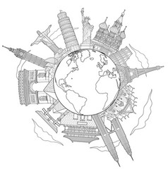 around world travel famous landmark doodle vector image