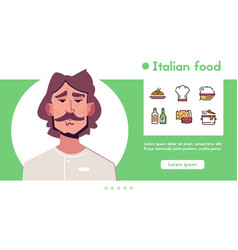 banner italian food chef linear icon set vector image