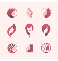 Beauty salon logo set vector
