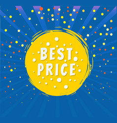 Best price round emblem isolated on blue backdrop vector