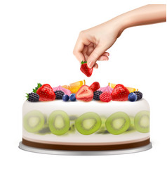 birthday cake realistic image vector image