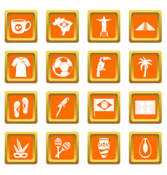 Brazil travel symbols icons set orange vector