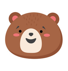 brown bear head looks straight smiling teddy bear vector image