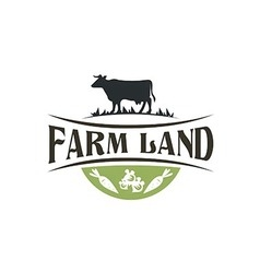 buffalo farm land harvest vintage logo vector image