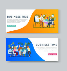 Business meeting and brainstorming cartoon banners vector