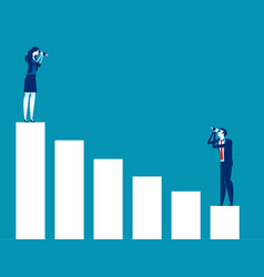 Business people looking at bar graph concept vector