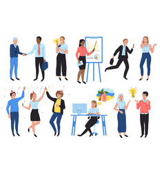 Business people work in office cartoon characters vector