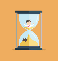 Businessman be trapped in hourglass vector