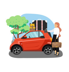 car trip road travel summer vacation young vector image