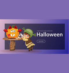 Cartoon little kid preparing for all hallows eve vector