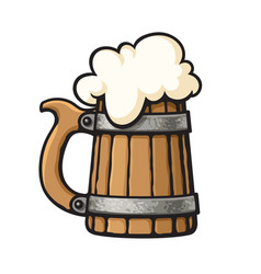 cartoon old wooden beer mug with foam design vector image