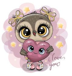 Cartoon owl girl with heart on the stars vector