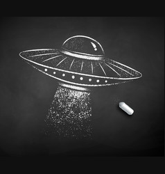 chalk drawn ufo vector image
