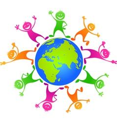 Children around planet vector image vector image