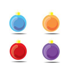 christmas ball sky blue orange red purple vector image