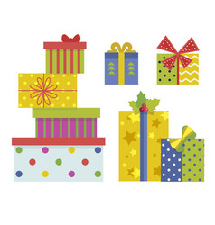 christmas gift boxes with ribbons and bows vector image