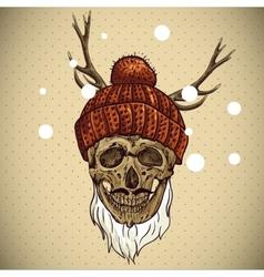 Christmas Hipster Skull Winter vector image