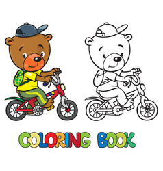 Coloring book of little funny bear on bicycle vector