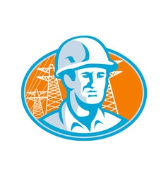 Construction Worker Engineer Pylons Retro vector