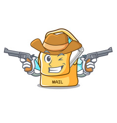 Cowboy bag sack fill in cartoon mail vector