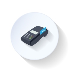 Credit card terminal flat icon vector