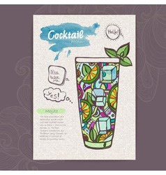 Decorative sketch of cocktail vector