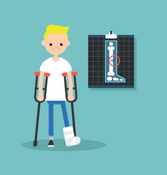 Disabled blond boy on crutches with broken leg vector